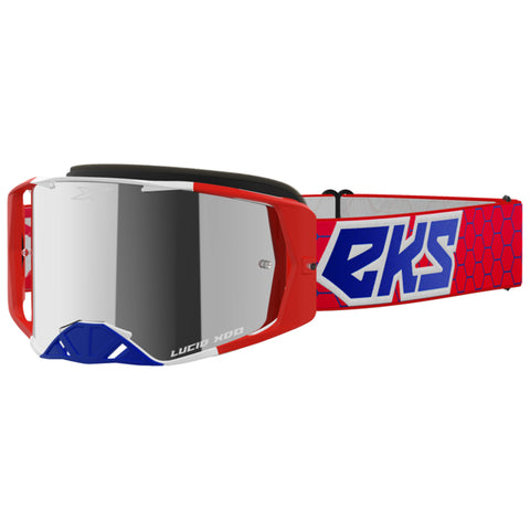 EKS Lucid Goggle - Red/White/Blue (Mirror Silver Lens)