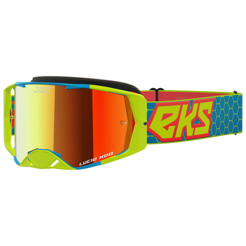 EKS Lucid Goggle - Yellow/Cyan/Fire Red (Mirror Red Lens)