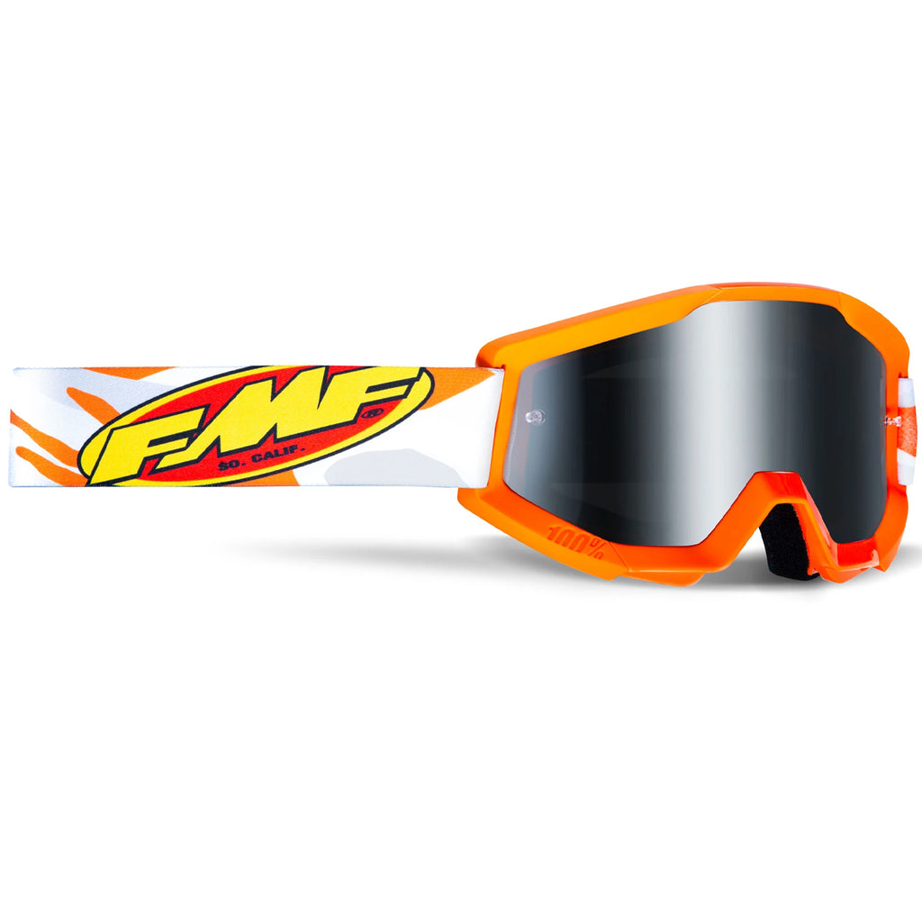 FMF Powercore Assault Goggle - Orange/Grey (Mirror Silver Lens)