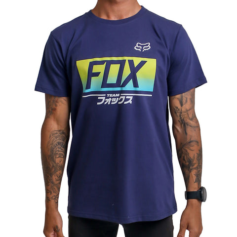 Fox Hiragana Tee (Light Indigo)