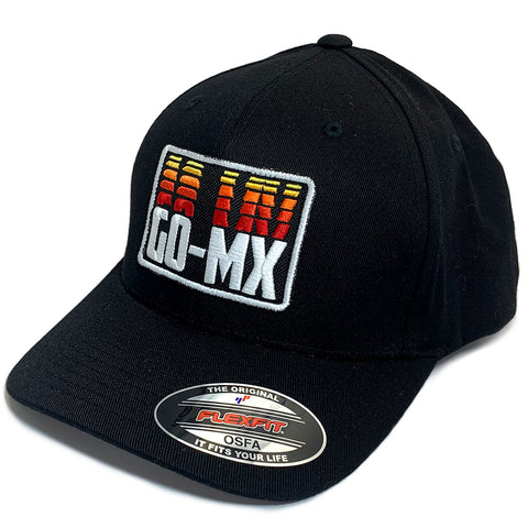 GO-MX Classic X-Shape Flexfit Baseball Cap (Black/Red/White)