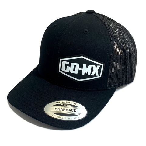 GO-MX Classic Snapback Trucker Cap (Black/White Moulded Logo)