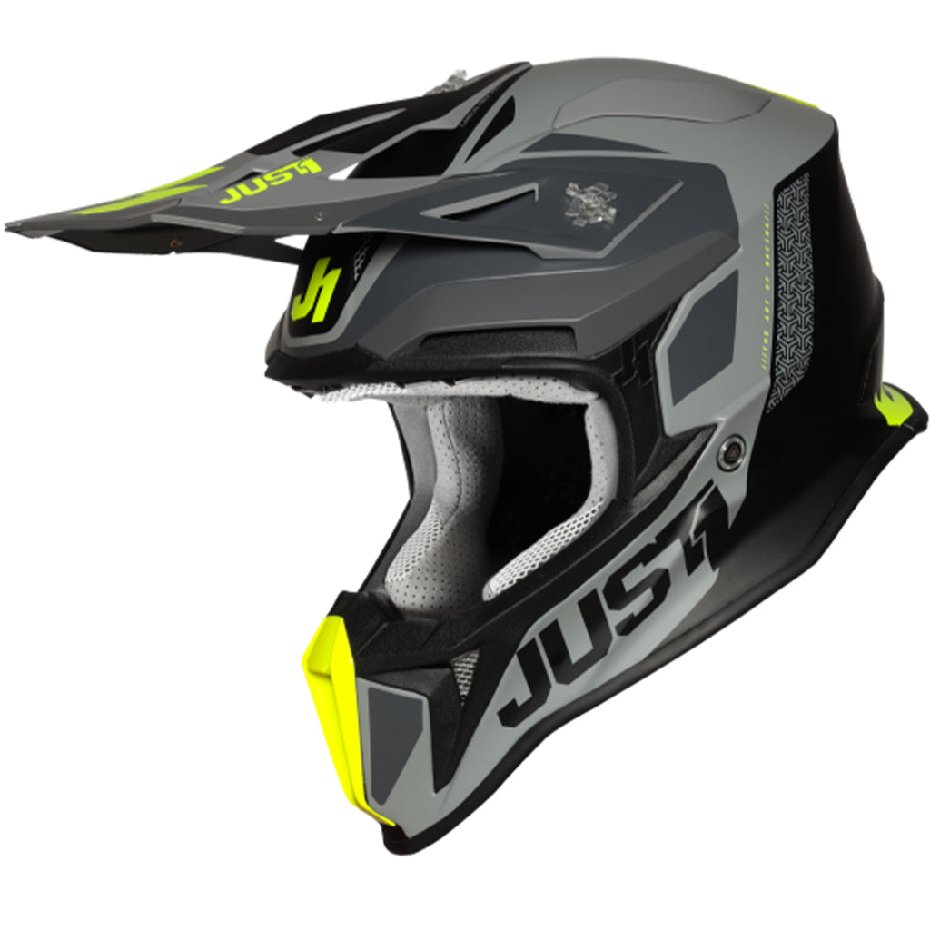 JUST 1 J18 Pulsar Matte Helmet (Fluo Yellow/Grey/Black)