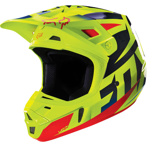 MX16 Fox V2 Race Helmet (Blue/Yellow)