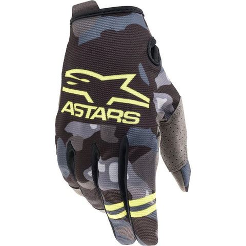 MX21 Alpinestars Youth Radar Gloves (Grey Camo/Fluo Yellow)