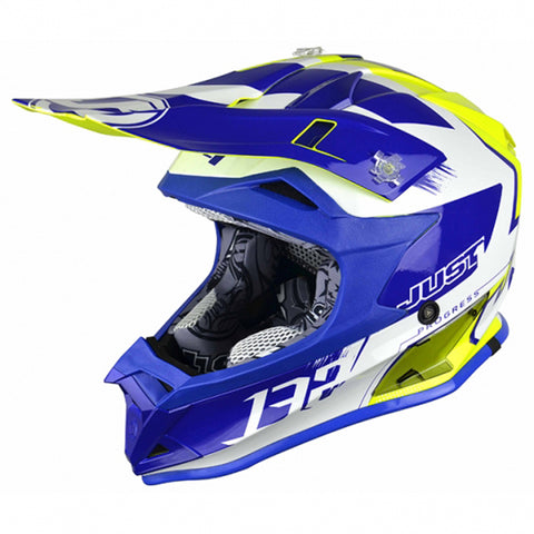 JUST 1 J32 PRO KICK (WHITE/BLUE/YELLOW) HELMET
