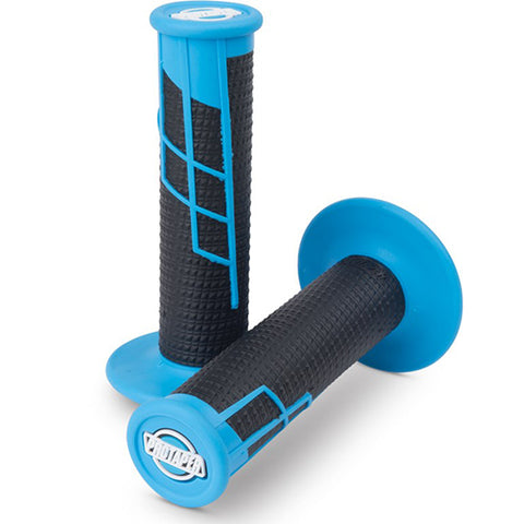 Protaper Clamp-on Half Waffle Grips (Neon Blue/Black)