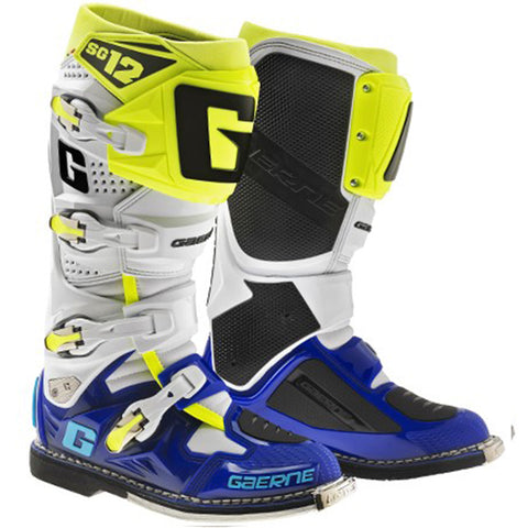 Gaerne SG12 Boots (White/Blue/Yellow Fluo)