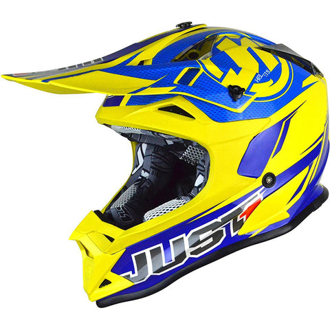 JUST 1 J32 PRO RAVE (MATTE BLUE/YELLOW) HELMET