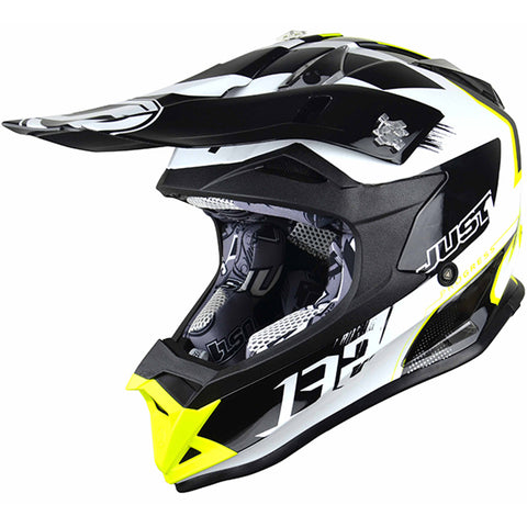 JUST 1 J32 Pro Kick Helmet (White/Black/Yellow) + Free pair of Just1 Vitro Goggles