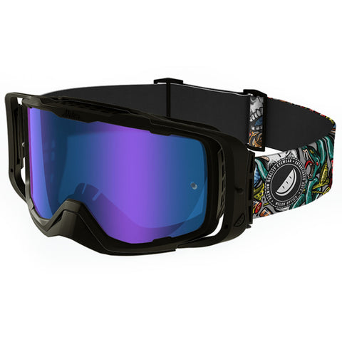 Melon Optics Diablo Goggles (Black Frame/Black Outrigger/Blue Chrome Lens/Snakes LE Strap)
