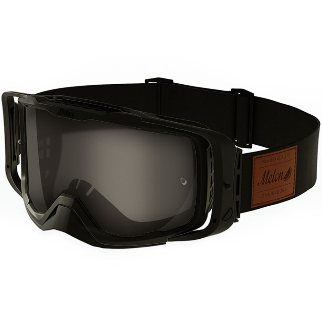 Melon Optics Diablo Goggles (Black Frame/Black Outrigger/Dark Smoke Lens/Black Strap with Leather Patch)
