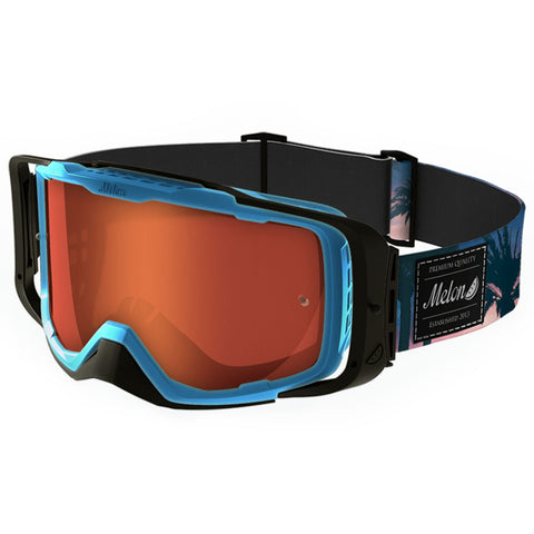 Melon Optics Diablo Goggles (Blue Frame/Black Outrigger/Red Chrome Lens/Palms Strap)