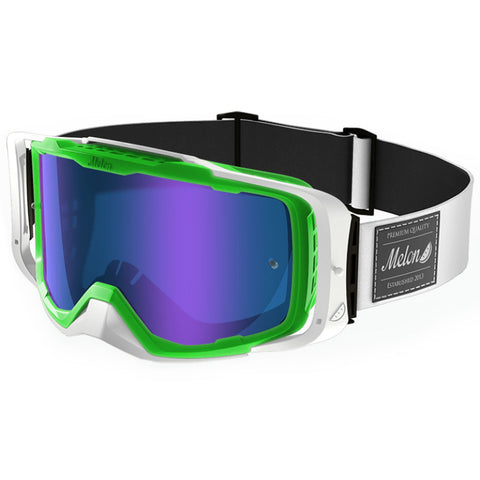 Melon Optics Diablo Goggles (Green Frame/White Outrigger/Blue Chrome Lens/White Strap)