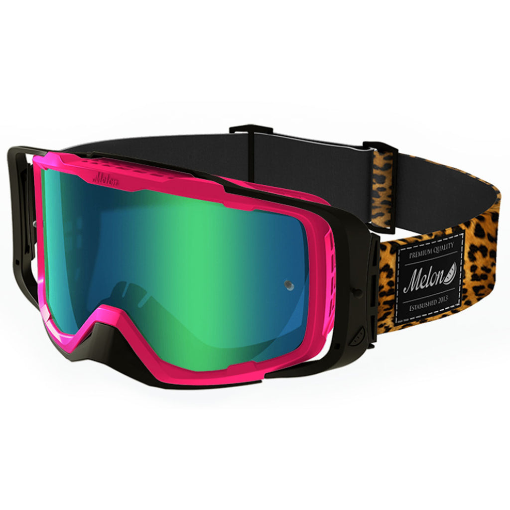 Melon Optics Diablo Goggles (Pink Frame/Black Outrigger/Green Chrome Lens/Leopard Strap)
