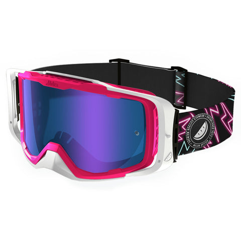 Melon Optics Diablo Goggles (Pink Frame/White Outrigger/Blue Chrome Lens/Lightning Bolts Strap)