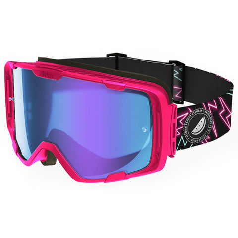 Melon Optics Parker Goggles (Pink Frame/Blue Chrome Lens/Lightning Bolts Strap)