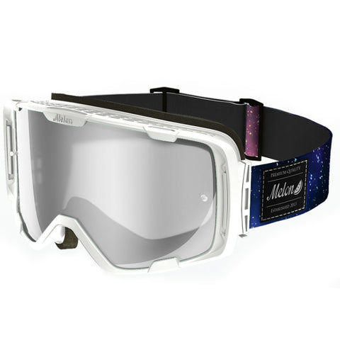 Melon Optics Parker Goggles (White Matte Frame/Silver Chrome Lens/Galaxy Strap)