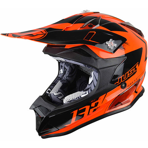JUST 1 J32 Pro Kick Helmet (Orange) + Free pair of Just1 Vitro Goggles
