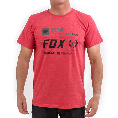 Fox Stacked Tee (Heather Rio Red)