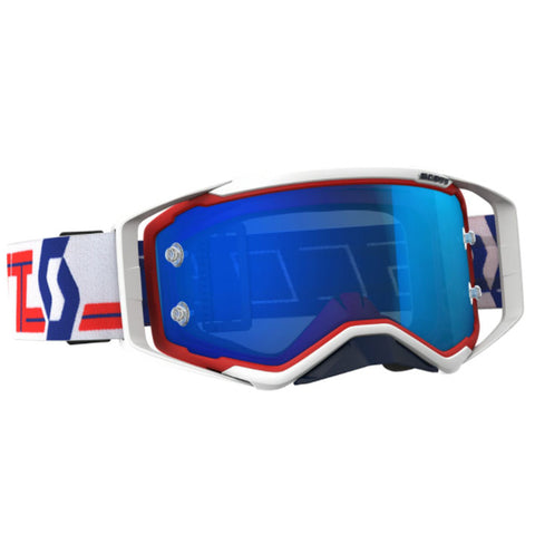 Scott Prospect Red/White Goggles (Electric Blue Chrome Lens)
