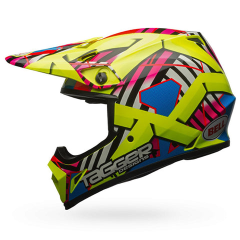 Bell MX-9 MIPS Tagger Double Trouble Hiviz Helmet (Yellow)