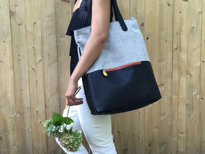 Greenpoint Vegan Backpack Tote - Tweed/Black