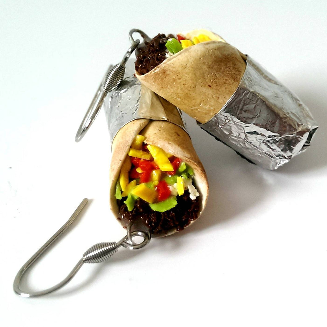 Burrito Earrings - miniature Food Jewelry, Funny Earrings, foodie