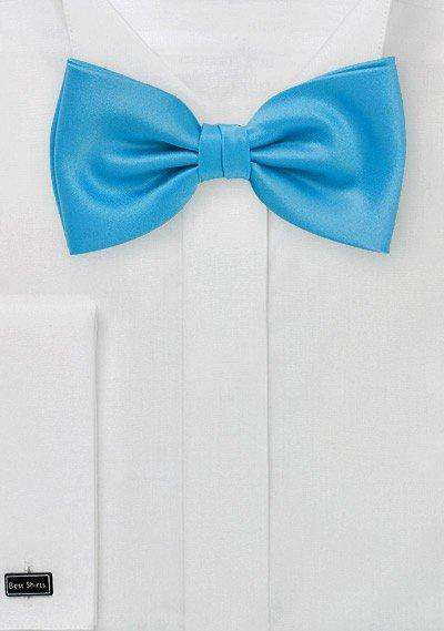 Cyan Solid Bowtie - Men Suits