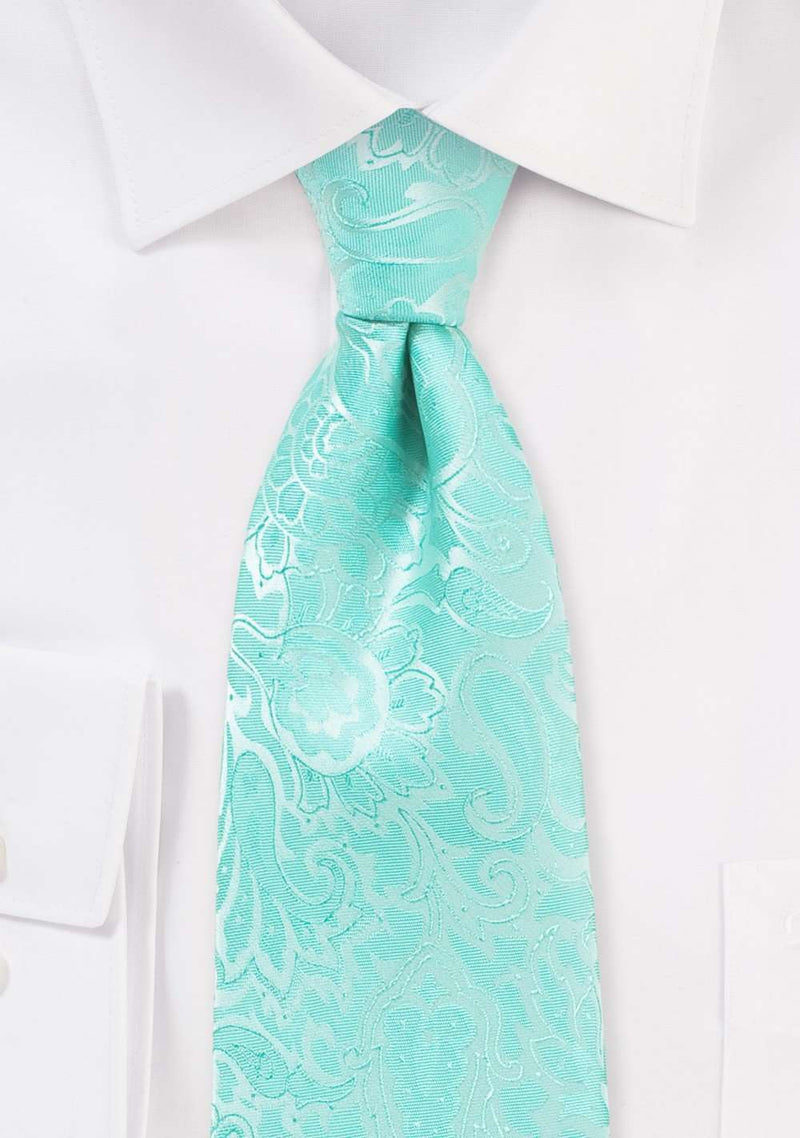 Glacier Floral Paisley Necktie - Men Suits