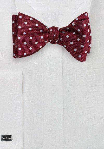 Burgundy and White Polka Dot Bowtie - Men Suits