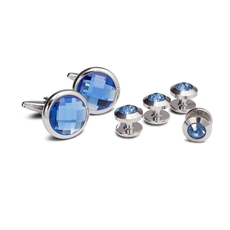 Cobalt Crystal Cufflinks and Studs - Men Suits