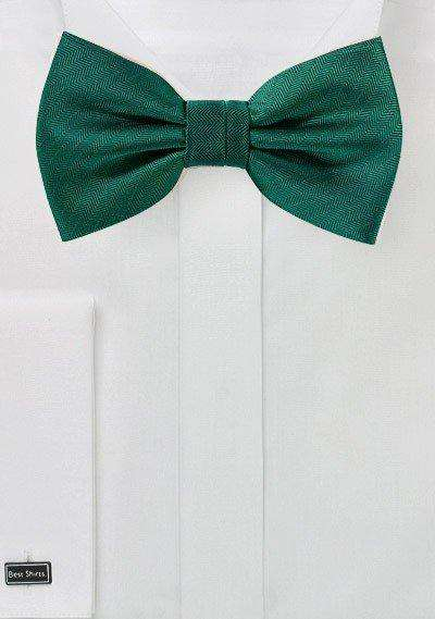 Hunter Green Herringbone Bowtie - Men Suits