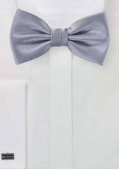 Silver Herringbone Bowtie - Men Suits