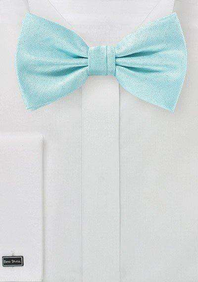 Pool Blue Herringbone Bowtie