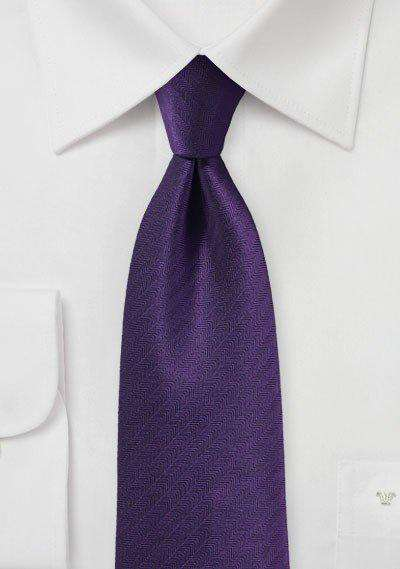 Regency Purple Herringbone Necktie - Men Suits
