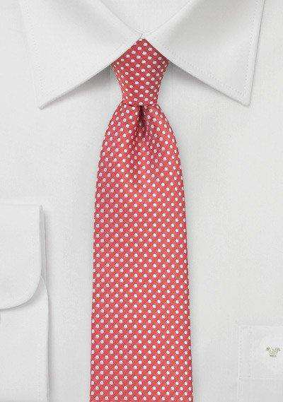 Coral Red Pin Dot Necktie - Men Suits
