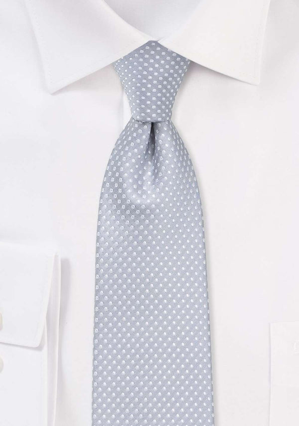 Soft Gray Pin Dot Necktie - Men Suits