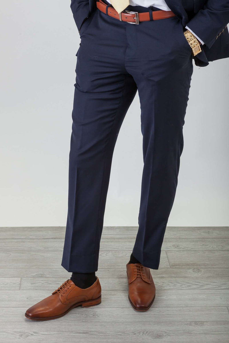 Navy Wool Stretch Suit - Men Suits