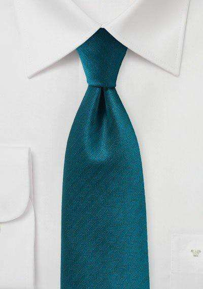 Teal Oasis Herringbone Necktie - Men Suits