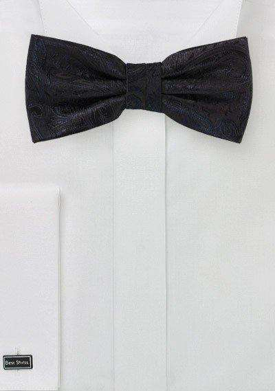Jet Black Proper Paisley Bowtie - Men Suits