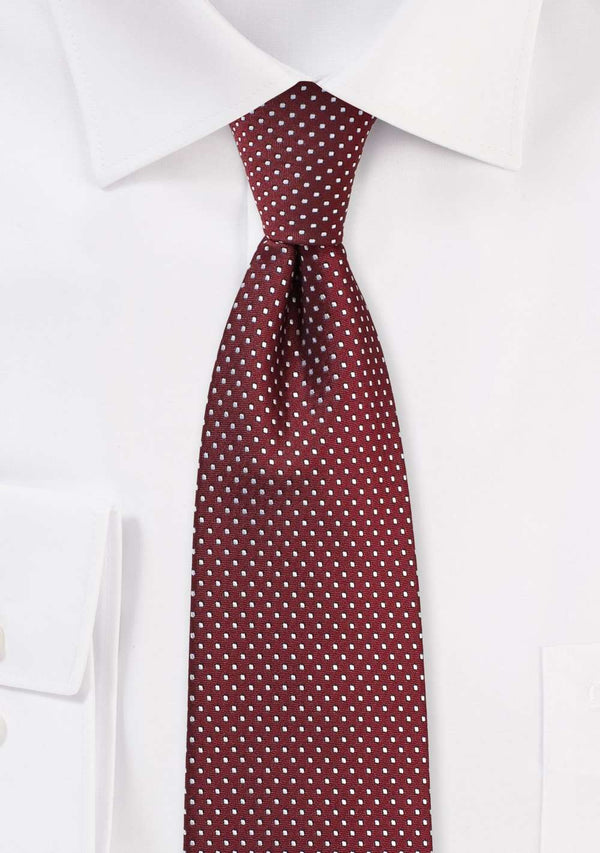 Burgundy Pin Dot Necktie - Men Suits