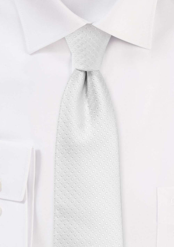 White Pin Dot Necktie - Men Suits
