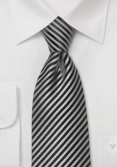 Smoke Gray and Charcoal Narrow Striped Necktie - Men Suits