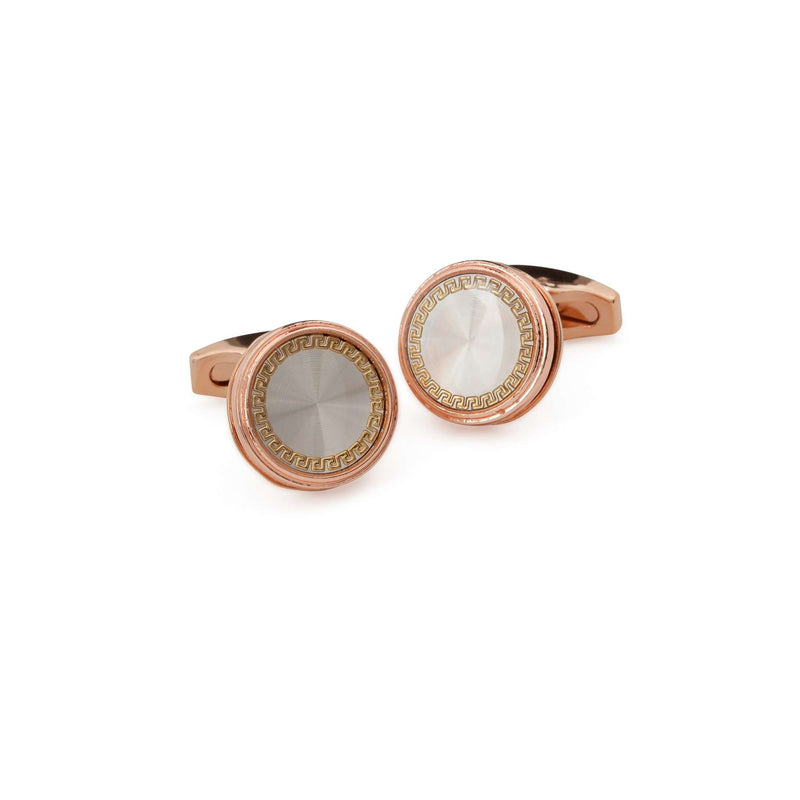 Rose Gold Mother of Pearl Bezzled Cufflinks - Men Suits