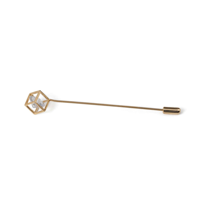 Gold Boxed Crystal Lapel Pin - Men Suits