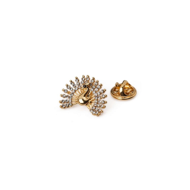 Gold Peacock Lapel Pin - Men Suits