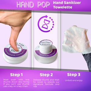 Hand Pop, Hand Wipes, Lemon Or Fresh Scent, 24 Single Use Wet Wipes Towelette, Alcohol Free Hand Wipes, Super Convenient Application, Hand Wipes Travel Size.