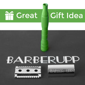 BarberUpp,Razor For Men, Long Handle (Brass) Safety Razor,Free Styptic Sticks,Astra Razor Blades Included, Single Blade Razor Perfect Addition To Your Safety Razor Kit.