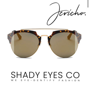 Jericho-  Half Frame Mirrored Lens with Horned Rim Sunglasses